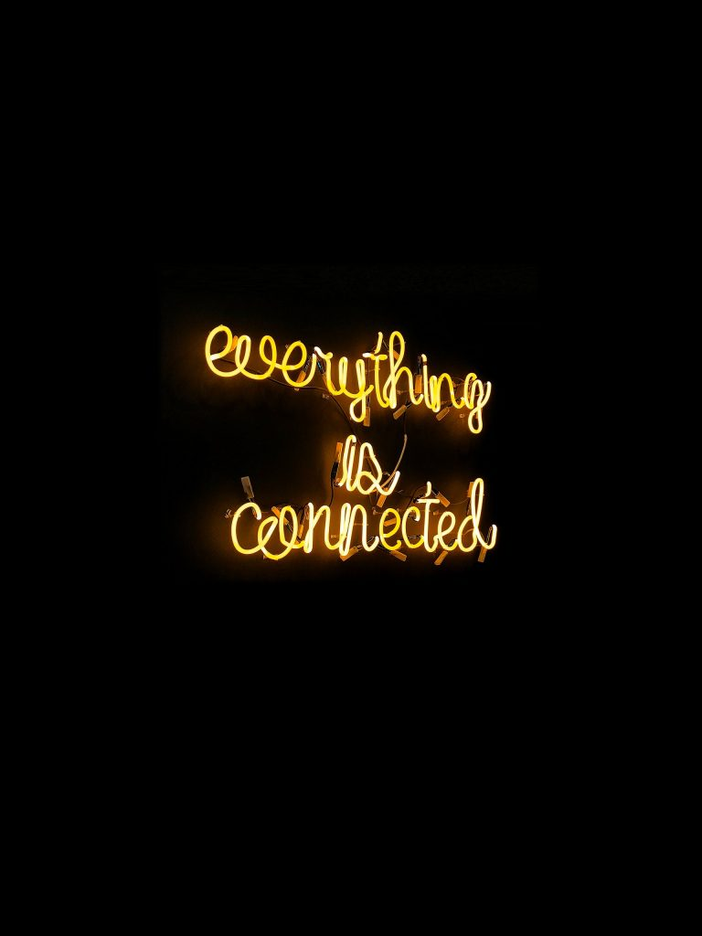 Everything is connected neon sign